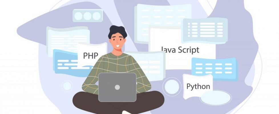 Software developers working of script coding. Engineer character programming in php, python, javascript, other languages. Vector illustration